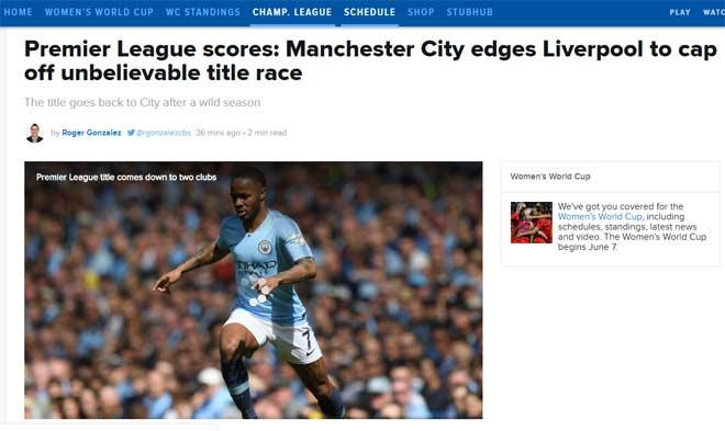 tin tức bóng đá Anh Man City giành chức vô địch ngoại hạng Anh