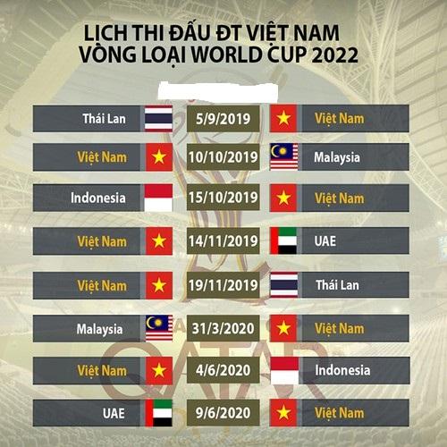 Tin mới nhất về ĐTVN: Lịch thi đấu Vòng loại World Cup 2022 của ĐTVN